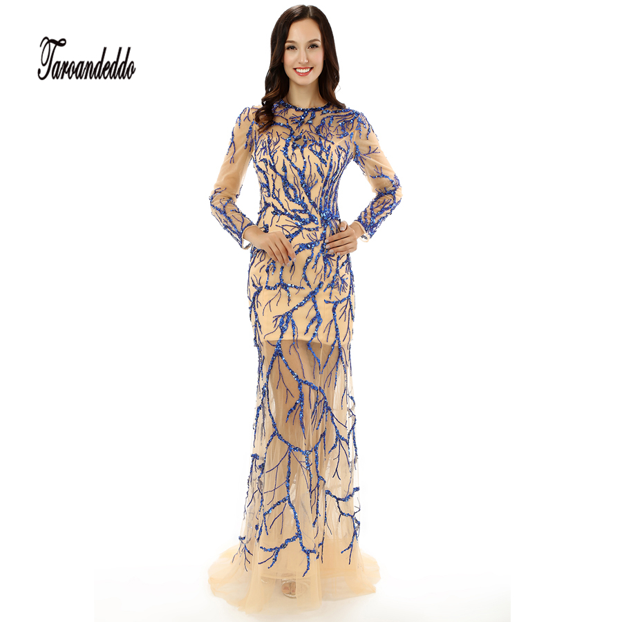 See Through Scoop Neckline Blue Embroider Lace with Crystals Long ...
