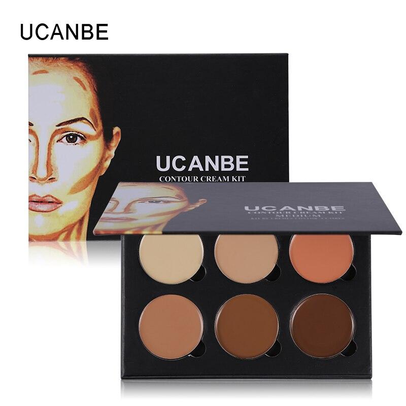 UCANBE Marque 6 Couleurs Highlight Contour Palette Lumière à Moyen 3D Maquillage Minceur Correcteur Anti-cernes Crème Make Up Cosmétiques