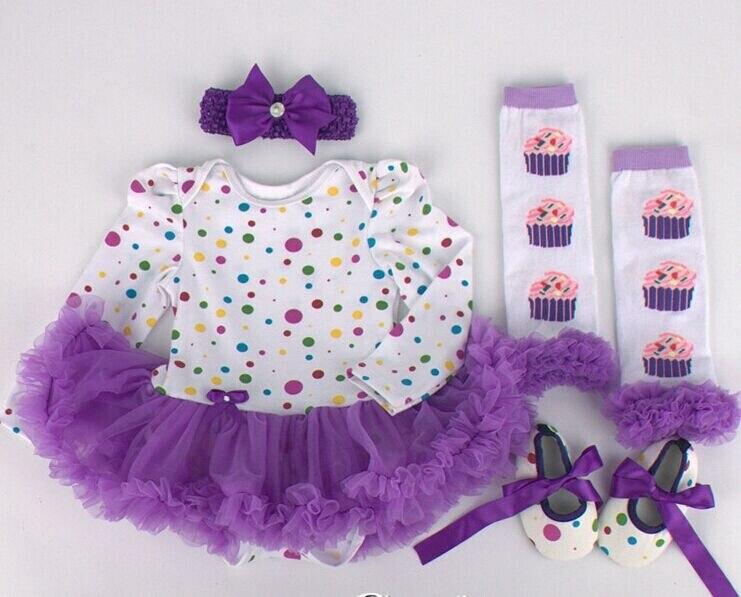 New Shivering Dresses Cupcake dresses Tutu dress 4pcs set dress Shoes Long socks Hair Band