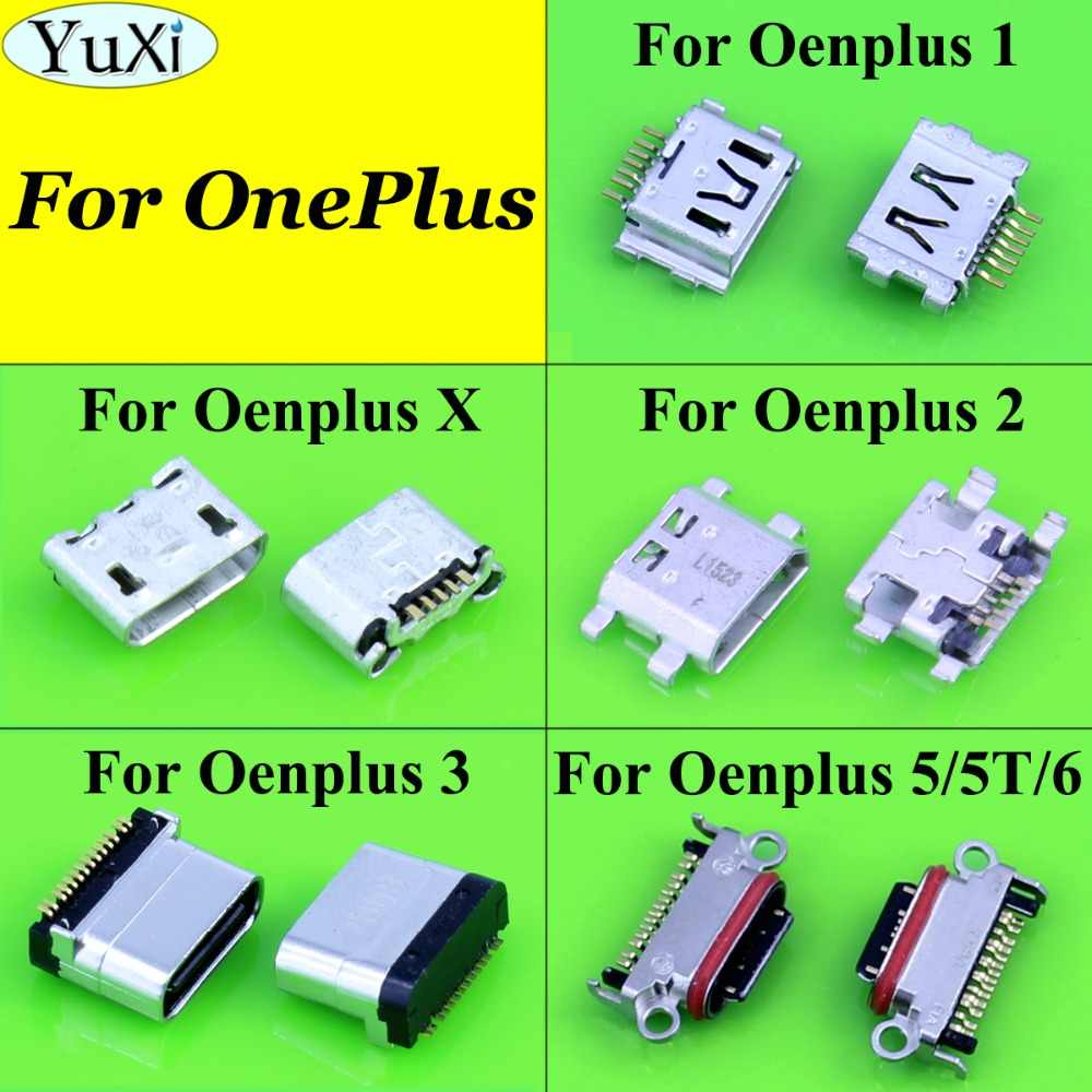 Yuxi Jack Micro USB Pengisian Port untuk OnePlus Satu 1 Dua 2 3X5 5 5T 6 Power charger Konektor Soket