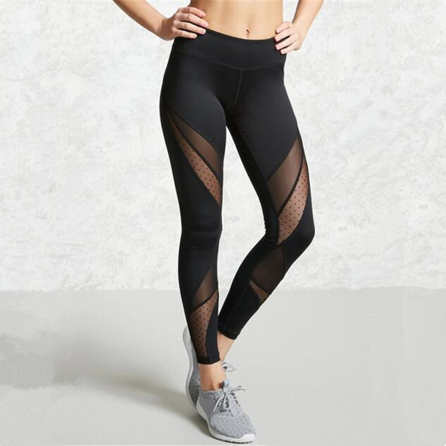 Japan Women Sexy Lace Leggings Insert Mesh Patchwork Lace Slim Elastic High Waist Pants Black Sportswear New Trend Gym Leggings