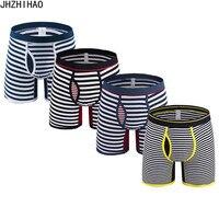 Men's underwear Extra long Men's boxers Men's shorts cotton stripe underwear 4 pcs / lot Hombre Underpants trunks Male Panties