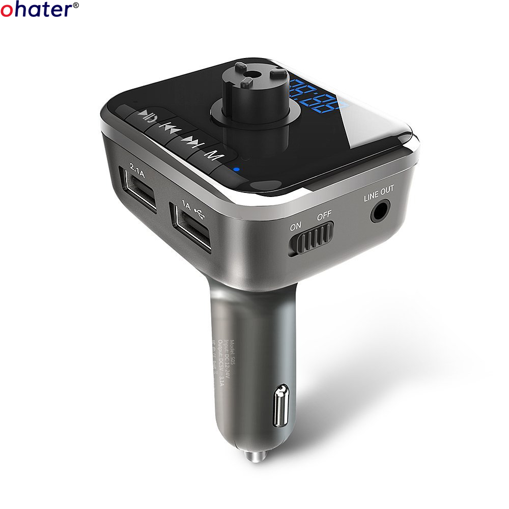 ohater bluetooth fm transmitter for car wireless bluetooth fm radio adapter car kit with hands. Black Bedroom Furniture Sets. Home Design Ideas