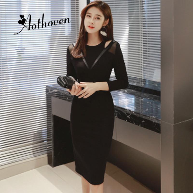Autumn Dresses Black O Neck Long Sleeve Womens Dress Office Lady Bodycon Sexy Party Elegant Midi
