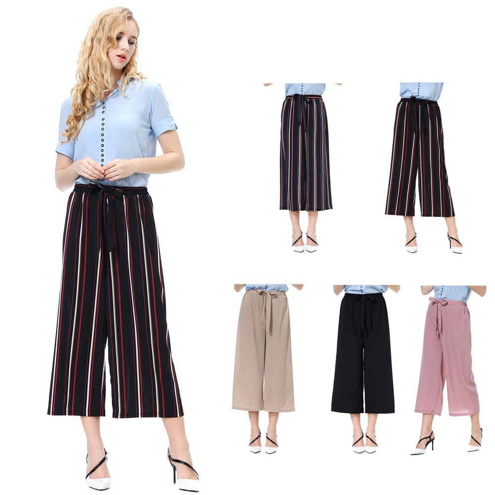 Hot Sale Women Solid Color Trousers Cool Striped Loose   Wide     Leg     Pants   for Summer MSJ99