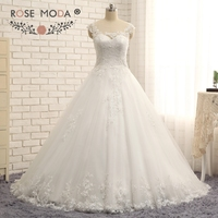 Rose Moda Sheer Bateau Neck Delicated Beaded Chantilly Lace Wedding Dress Illusion Lace Back Ball Gown