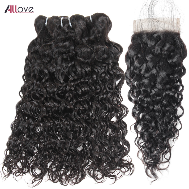 Allove Peruvian Water Wave Bundles With Closure Remy Human Hair 4X4 Free/Middle/Three Part Lace Closure 3 Bundles With Closure