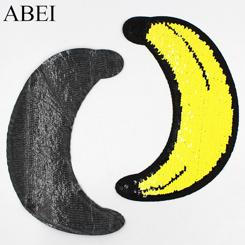 2pcs Big Iron On Embroidery Two Way Reversible Sequin Banana Patch Diy Girls Jeans Clothes Stickers Sew On Apparel Appliques