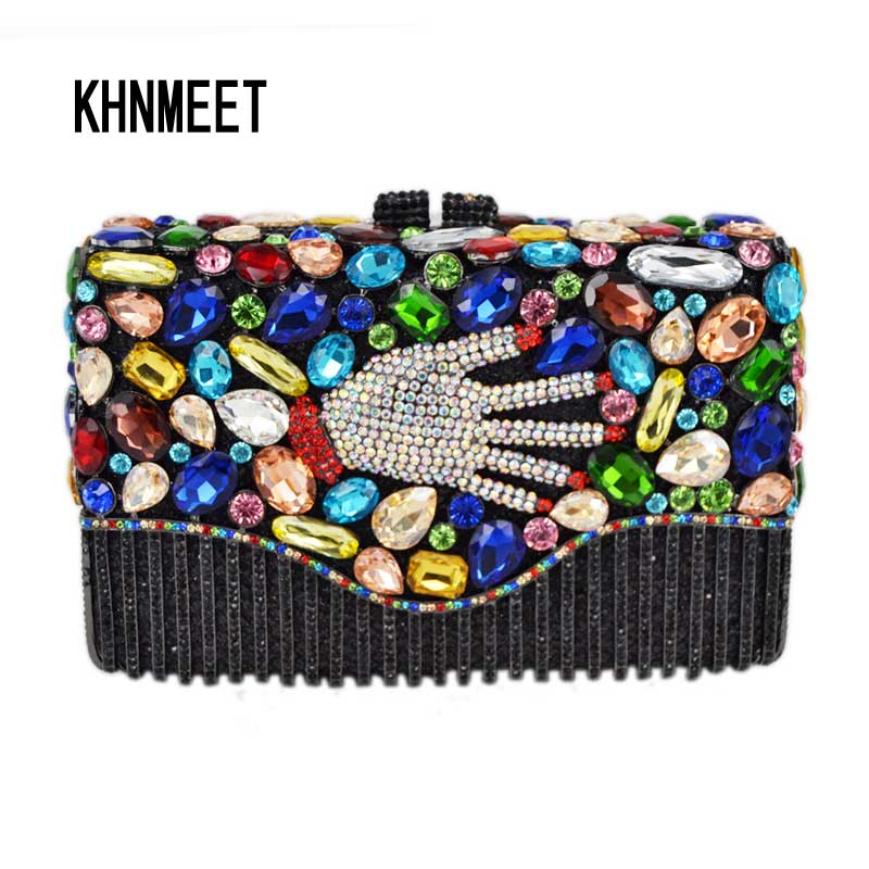 Newest Fashion Luxury Evening Bag Palm Designer Diamond Crystal Clutches Party Purse for Prom Bag Gold Bridal Handbag SC446