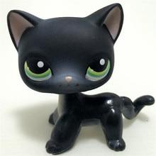 лучшая цена Real Rare Pet Shop Lps Toys Littlest Short Hair Cat #994 Black Animal Kitten With Blue Eyes Christmas Gift For Kids