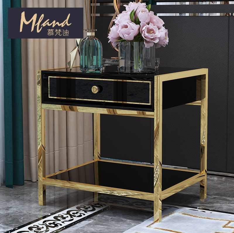 50 см высокие ночные Подставки/черный и золотой/прикроватный столик из нержавеющей стали с золотым лаком