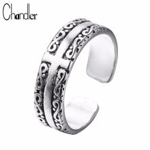 Chandler silver Jewelry Plat Ring With Sanskrit For Woman Thailand Silver Bague Rings Anel de Prata Bague en argent(China)