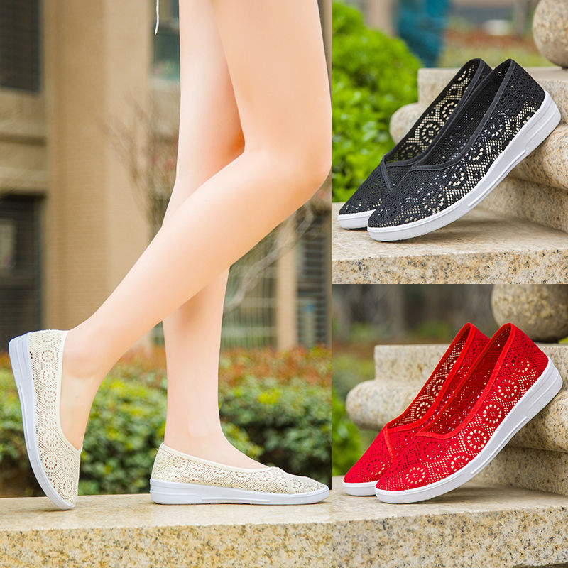 2019 New Summer Women's Mesh Flat Shoes Slip-on Cotton Casual Shoes For Woman Lace Sneakers Breathable Loafers Soft Shoes Zapato