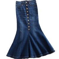 New Plus Size 7xl Women Denim Skirts High Waist Long Denim Skirt Fashion Ladies Trumpet