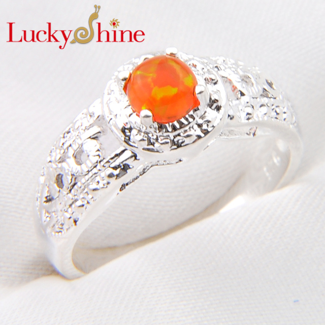 Big Promotion Dazzling Round Antique Fire Created Opal Silver Plated