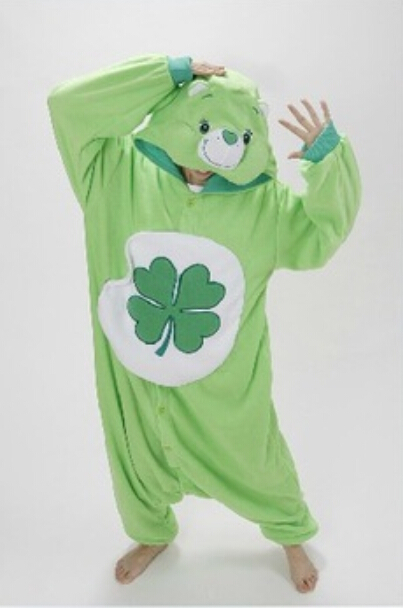 Green Four-leaf Clover Lucky Care Bear Pajamas Adult Women Men Unisex Onesie One Piece Hooded Romper Party Costumes