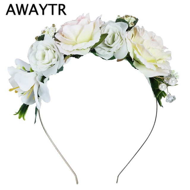 Diademas de flores AWAYTR adornos para el pelo de novia diademas de perlas  florales para mujeres c1d5dabc8a73
