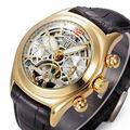 1 PC Men's Luxury Skeleton Automatic Tourbillon Transparent Mechanical Leather Watch