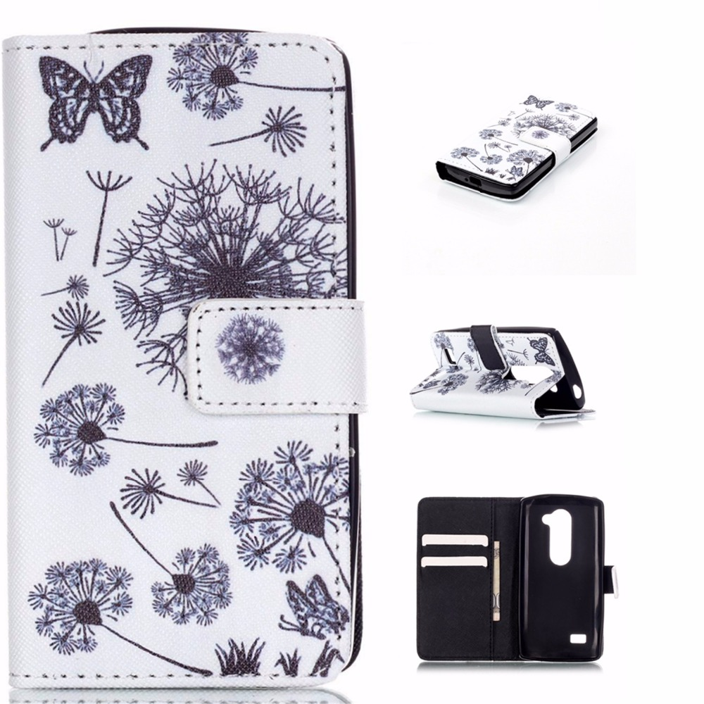Luxury Painting Leather Case Feather Flowers Flip Card Slot Wallet Stand Cover <font><b>funda</b></font> coque for <font><b>LG</b></font> <font><b>Leon</b></font> <font><b>4G</b></font> <font><b>LTE</b></font> H340N C40 C50 Para image
