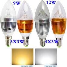 Светодиодный светильник-свеча E14 9 Вт 12 Вт 15 Вт с регулируемой яркостью 110 В 220 В светодиодный светильник Холодный белый/теплый белый точечный светильник светодиодный светильник IG серебристый/золотистый