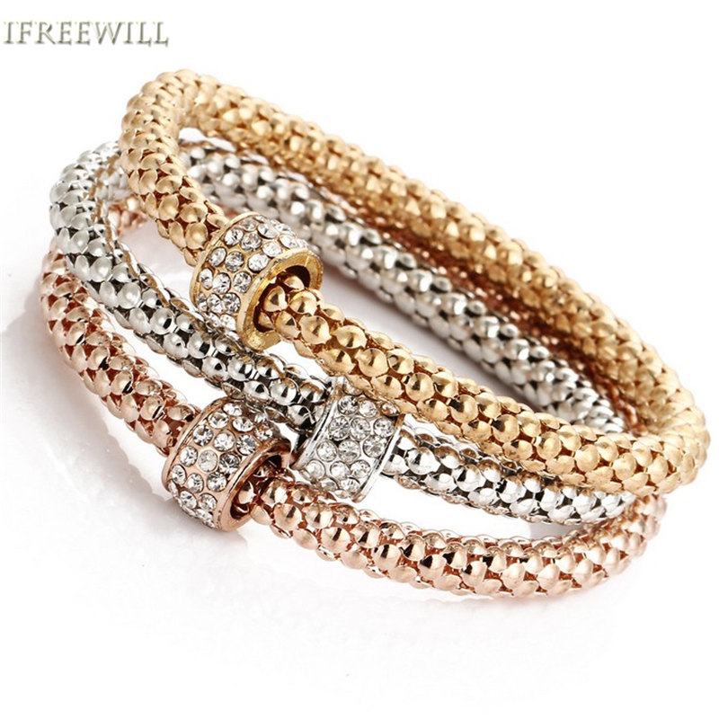 Ifreewill Zircon Metal Woman Bracelet Trendy Style Tri Kit Color Gold Popcorn Chain Snap Fashion Jewelry Whole Party In Strand Bracelets From