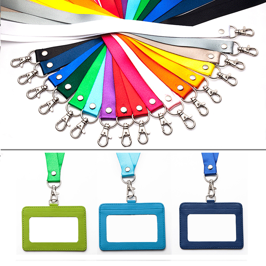 DEZHI Metal Q Clip Neck Strap 20mm For Mobile Phone Holder, Colorful Badge Lanyard With Metal Clip