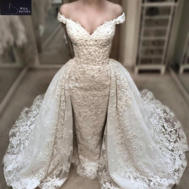 9d343c41f36 BRITNRY Fashion Lace Mermaid Wedding Dress 2018 Detachable Train Vestido De  Casamento V Neck Beaded Vintage Wedding Gowns