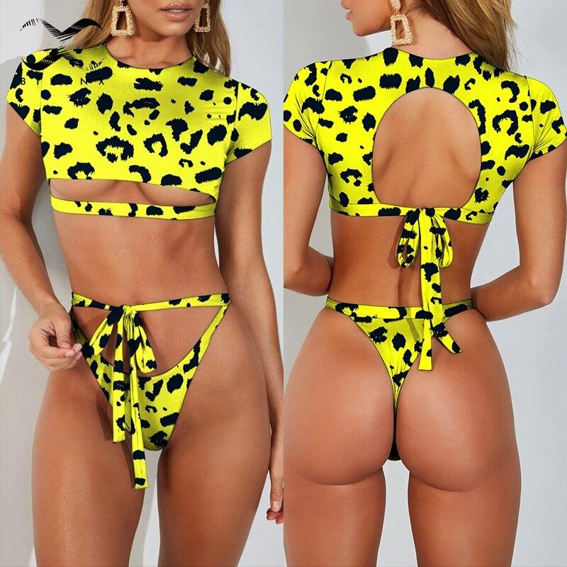 Bikinx Crop Top Leopard Bikini Set T-shirt Bandage Female Swimsuit 2019 Hollow Out Bathing Suit Women Sexy Thong Swimwear Bath