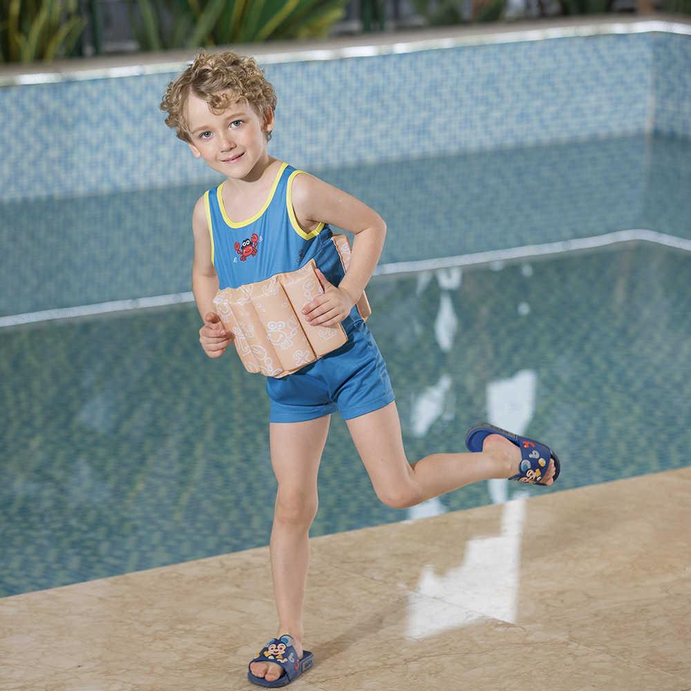 Megartico 子供ライフジャケットかわいいカニ印刷フロートスーツ幼児浮力水泳スーツノースリーブワンピース水着と泡