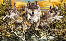 fantasy original art artistic artwork wolf wolves running paint 4′ Size Home Decoration Canvas Poster Print