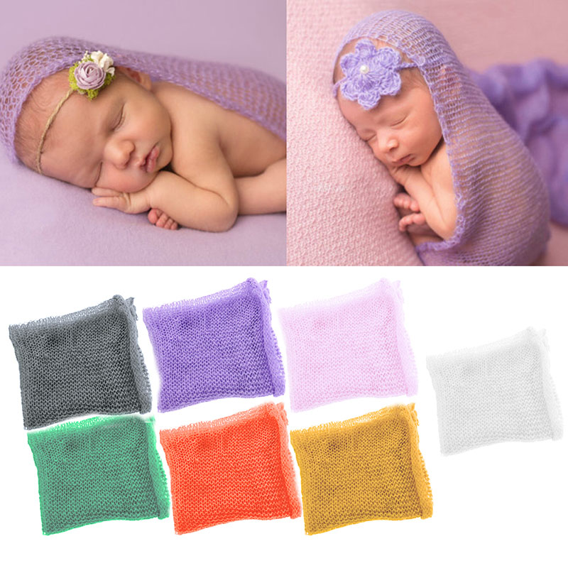 7Colors Soft font b Baby b font Newborn Infant Crochet Knit Mohair Wrap Cloth Photography Photo