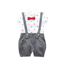 Boys Boutique Clothing Fashion Baby Boy Clothes Summer Set Gentleman Print Bow Tie Shirt+Shorts Suits Kids