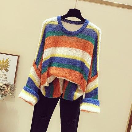 Korean Wind New The Striped Multi Loose 2018 Sweater Of Lazy Version Autumn E7wTn4qz