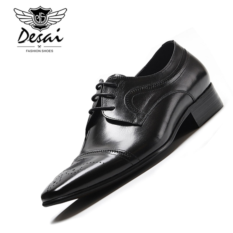 New Genuine Leather Mens British Pointed Business Dress Shoes European Version of the Wedding Shoes Men Formal Lace-Up ShoesNew Genuine Leather Mens British Pointed Business Dress Shoes European Version of the Wedding Shoes Men Formal Lace-Up Shoes