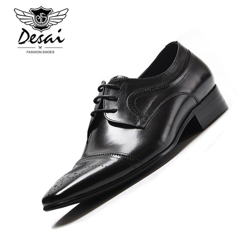Nouveau cuir véritable hommes britanniques pointus affaires robe chaussures Version européenne des chaussures de mariage hommes chaussures formelles à lacets-in Chaussures d'affaires from Chaussures    1