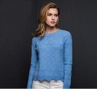 100% кашемир Голубой Свитер Белый Для женщин пуловер О образным вырезом Мода Теплая Мягкая Твердые натуральные ткани Высокое качество Беспла