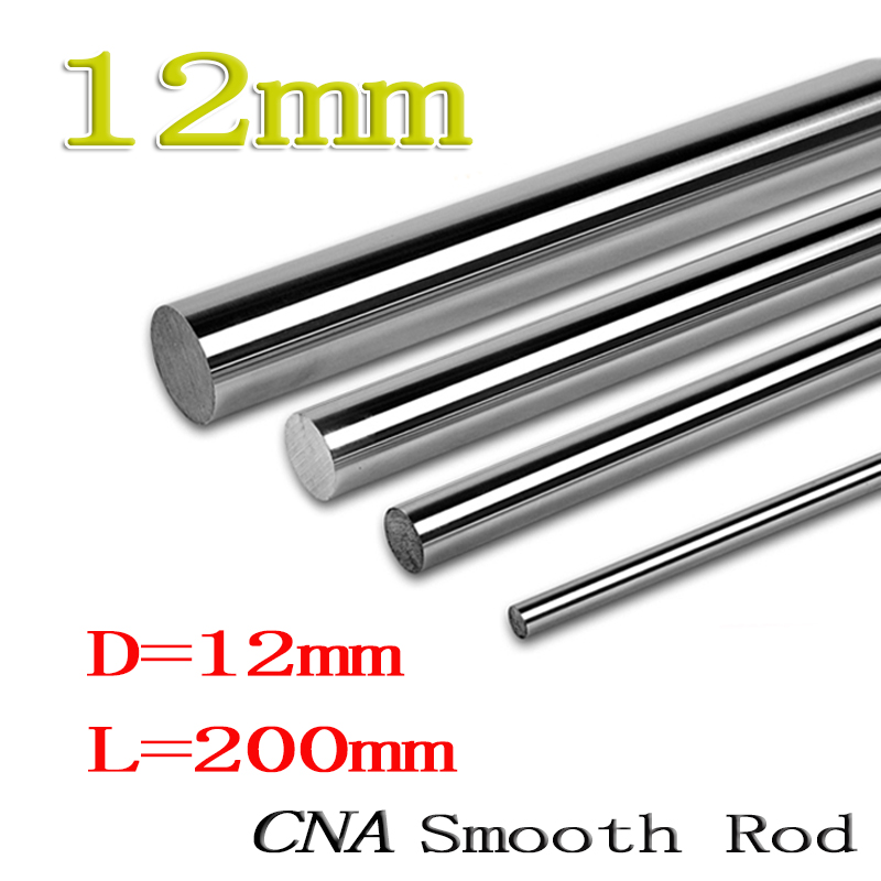 цены 2pcs/lot 3D printer rod shaft WCS 12 mm linear shaft L 200 mm chrome plated linear motion guide rail round rod Shaft cnc robot
