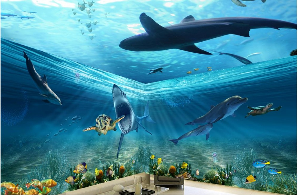 Us 210 58 Offwallpaper 3d Ceiling Marine Shark Dolphin 3d Stereo Theme Space Background Wall 3d Ceiling Murals Wallpaper In Wallpapers From Home