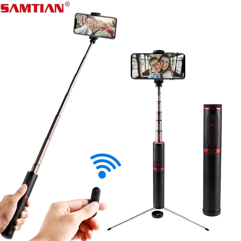 Image 1 - SAMTIAN 3 in 1 Wireless Bluetooth Selfie Stick Tripod Fold Handheld Monopod 360 Rotation Phone Stand For Mobile Photo Smartphone-in Selfie Sticks from Consumer Electronics