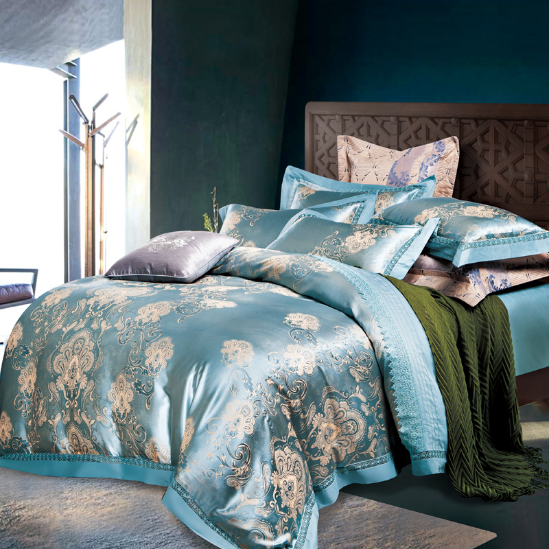 silver blue 4pc jacquard bedding sets queen king size duvet cover silk cotton blend fabric luxury