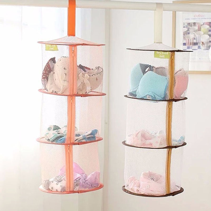 2 Colors Underwear Bra Laundry Sweater Hanging Basket Windproof Folding Multi-Layer Drying Rack Mesh Clothes Dryer Net