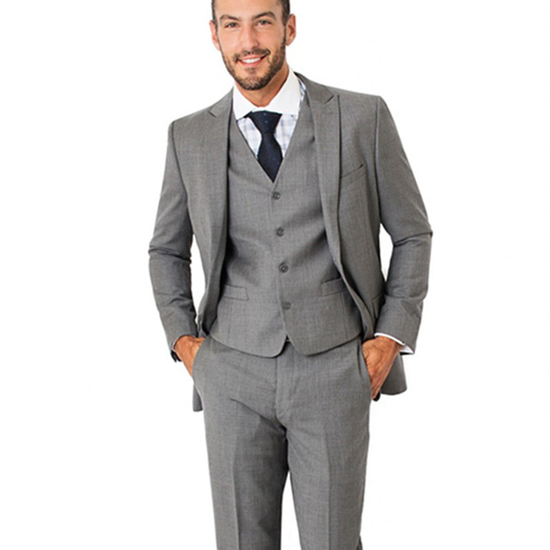 2017 Handsome Grey Slim Fit mens Suit Formal 3 pieces wedding suits for men Groom Tuxedos Wear Peaked Lapel Best Man masculino
