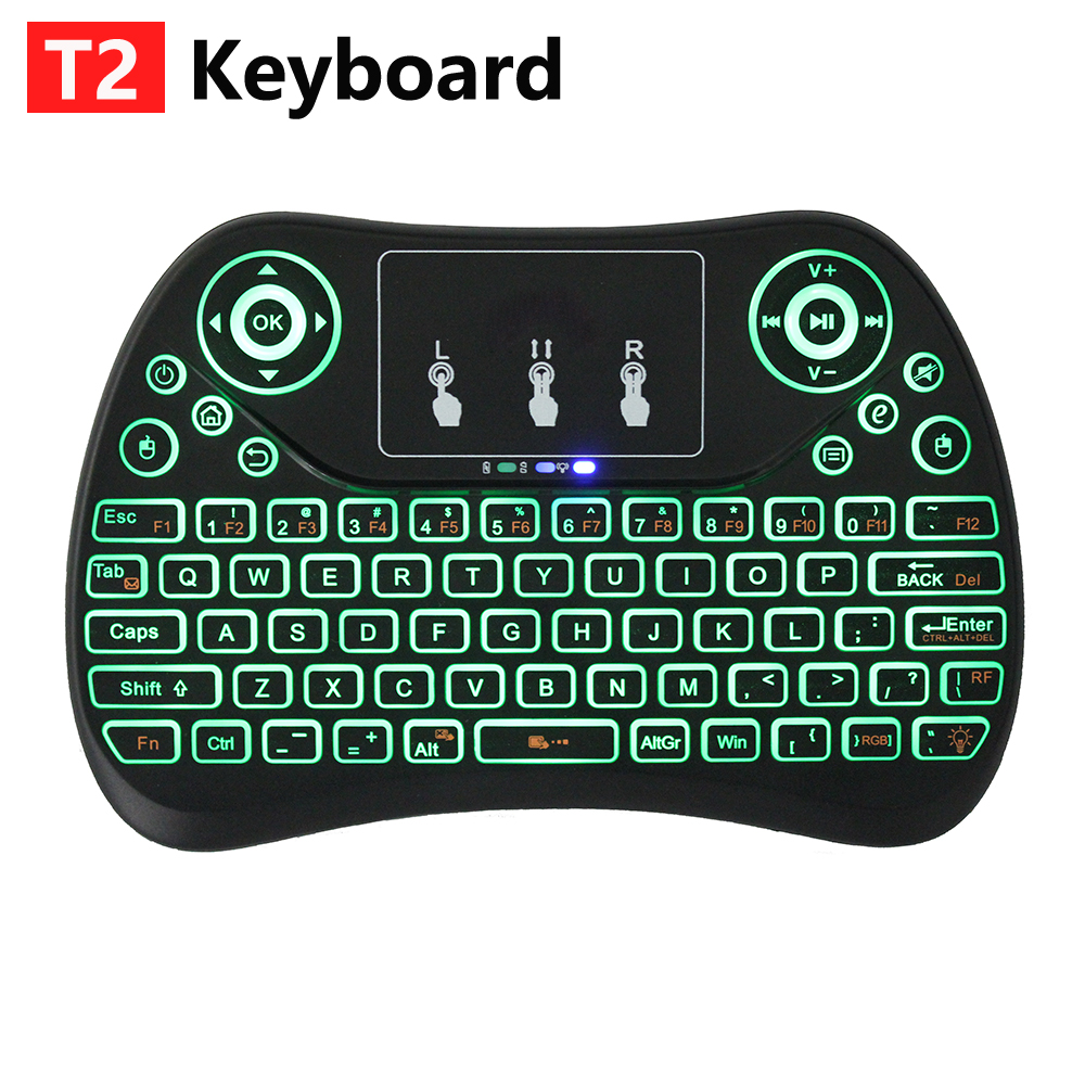 NEW 7 color backlit T2 Mini Wireless Keyboard 2.4ghz English Air Mouse with Touchpad Remote Control Android TV Box PK original t2 air mouse 2 4g wireless mini keyboard 3d sense motion remote controller t2 air mouse for android smart tv box pc