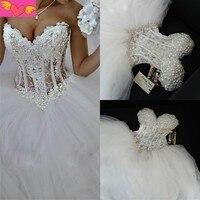 שמלת כלה יוקרה פרל חרוזים התחרה הלבן מתוק נסיכה בתוספת גודל Casamento Vestido דה Noiva אמא של שמלת הכלה
