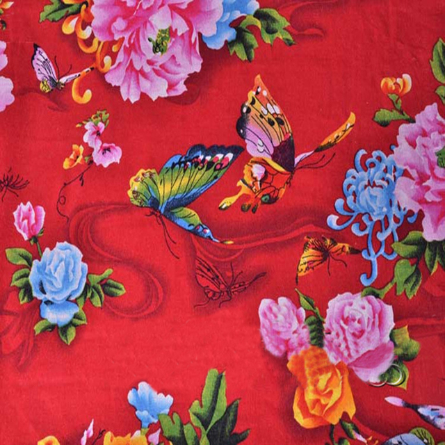 100 145cm Flower Erfly Chinese Ethnic Print Fabric Cotton Linen Textile
