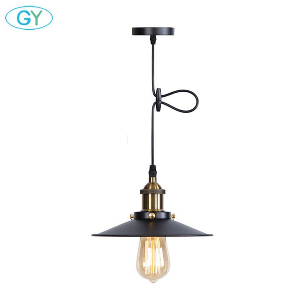 Vintage D22cm Pendant Lighting Fixture with Metal Shade Industrial Black E27 Pendant Lamp above Kitchen Sink for Dining room brass cone shade pendant light edison bulb led vintage copper shade lighting fixture brass pendant lamp d240mm diameter ceiling