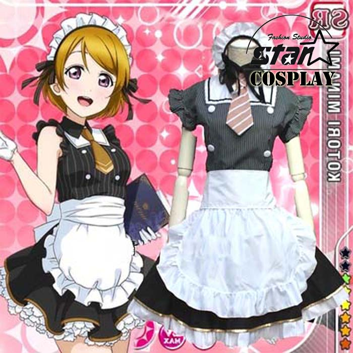 Free Shipping Japanese Girls Anime Love Live Cosplay Costumes Halloween Party Lovelive Lolita Dress Coffee Waitress  Wear