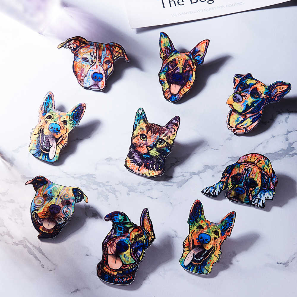 1PC Acrylic Printing Dog Cat Elephant Horse Bird Tortoise Brooch Charms Flower Animal Eagle Badges Pin Unisex Ethnic Jacket Coat