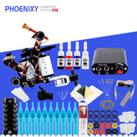 Starter Tattoo Machine Kit 8 Wrap Coils Guns 4 Colors Ink Pigment Black Power Supply Needle Grips Beginner Tattoo Supplies Kit