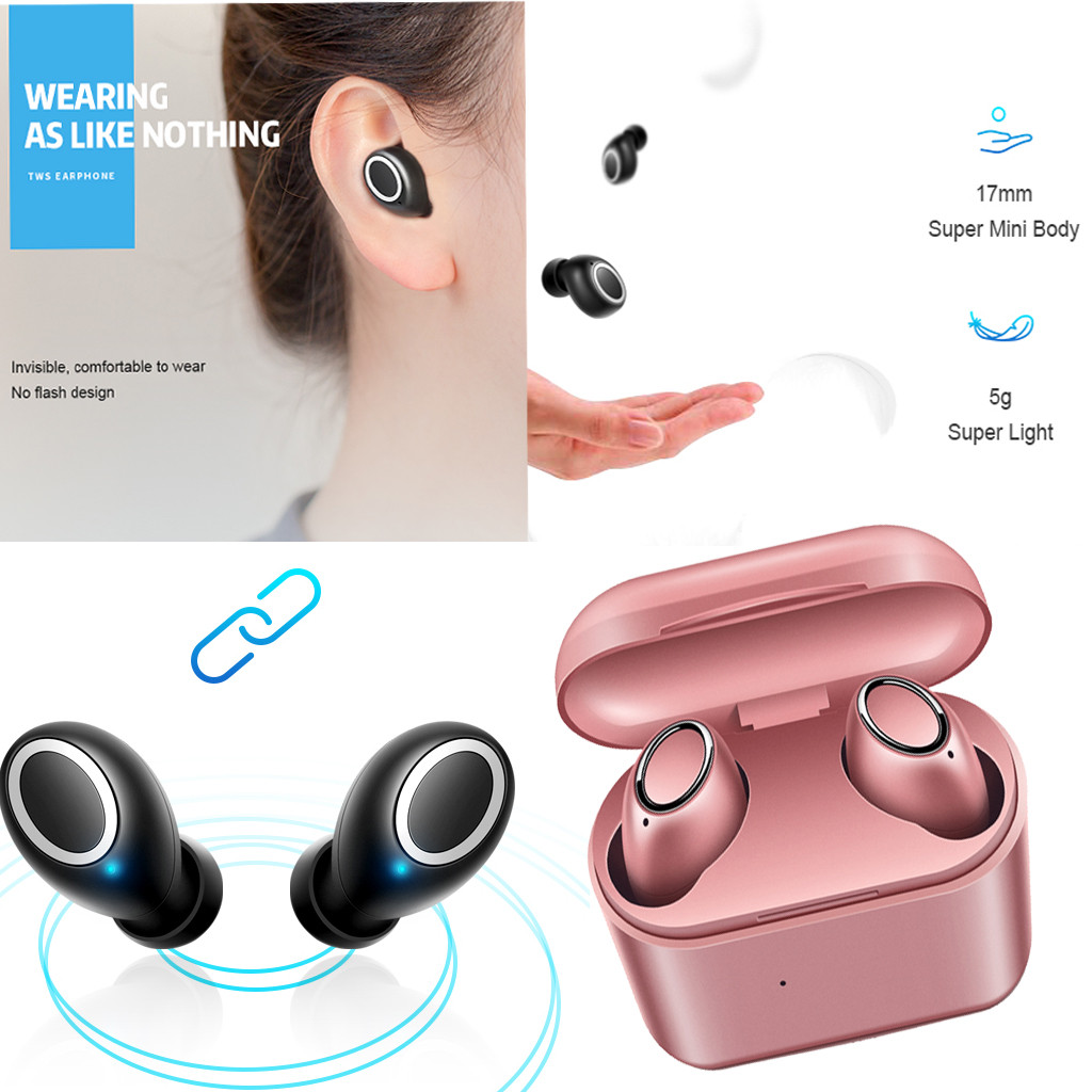 Bluetooth Headphones Earphones 5.0+EDR Sports Mini TWS Earbuds with 1500mAh Charger Case Q32 Wireless Earphone for Mobile Phone